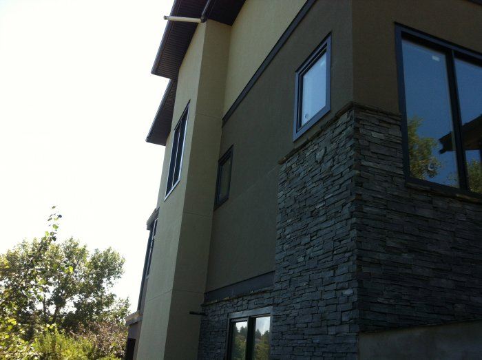 stone work with the stucco